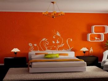 Покраска стен в квартире в спальне