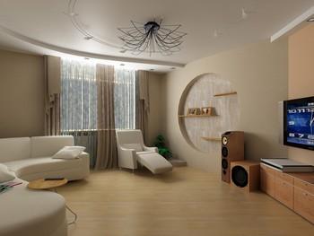 недорогой ремонт гостиной