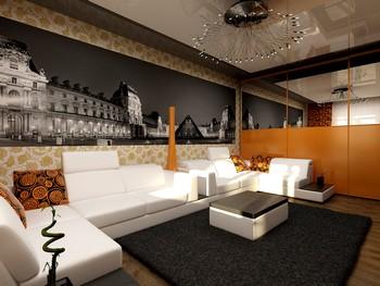 современный ремонт в гостиной комнате