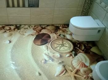 Установка наливного 3D пола в уборной комнате