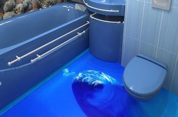 Устройство наливных 3D полов для ванной комнаты